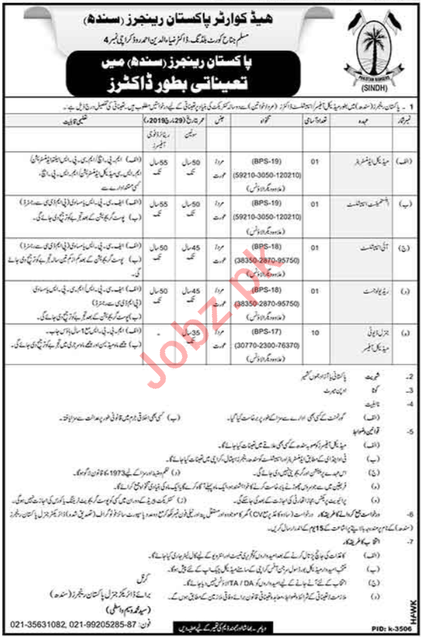 Pakistan Rangers Jobs Medical Officers & Medical Specialist