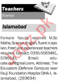 Female Faculty Job in Islamabad