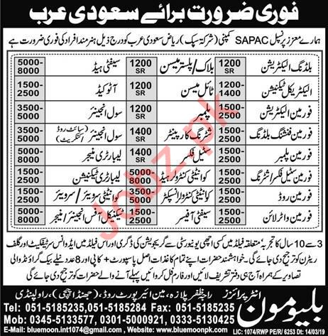 Manager, Surveyor & Labor Job in Saudi Arabia