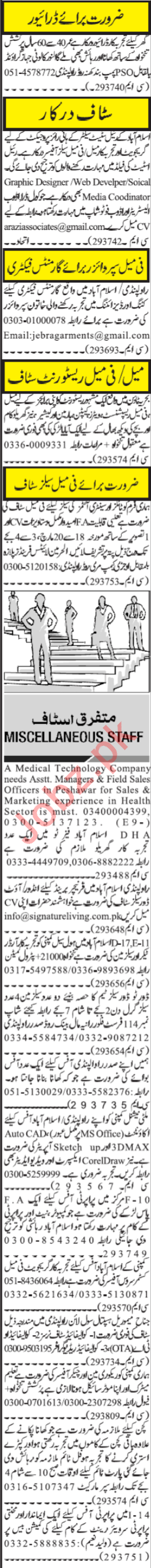 Male & Female Staff Jobs 2019 in Rawalpindi