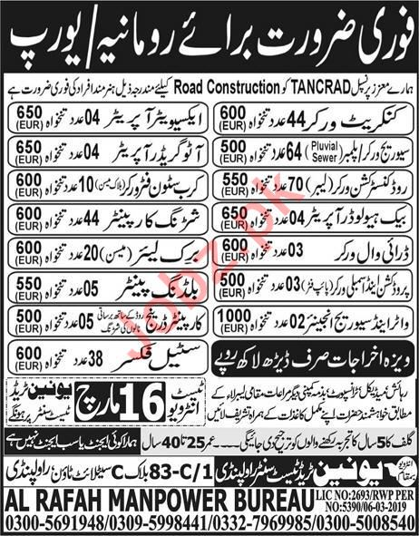 Concrete Worker, Plumber & Road Construction Labor Jobs