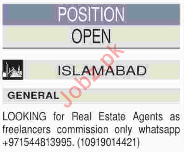 Real Estate Agent Jobs 2019 in Islamabad