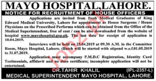 House Officer Jobs in Mayo Hospital
