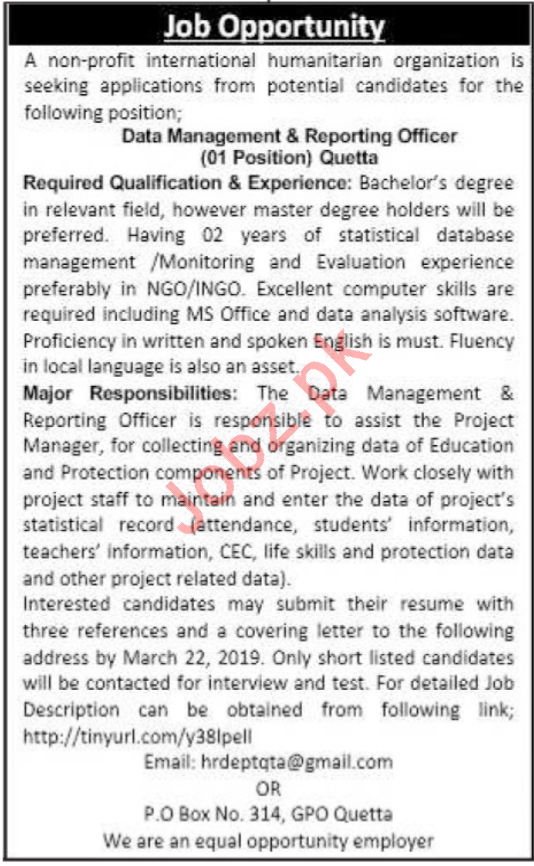 Data Management & Reporting Officer Job 2019 in Quetta
