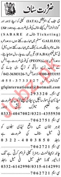 Daily Jang Newspaper Classified Jobs 2019 For Lahore