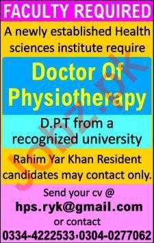 Health Science Institute Faculty Job 2019 in Rahim Yar Khan