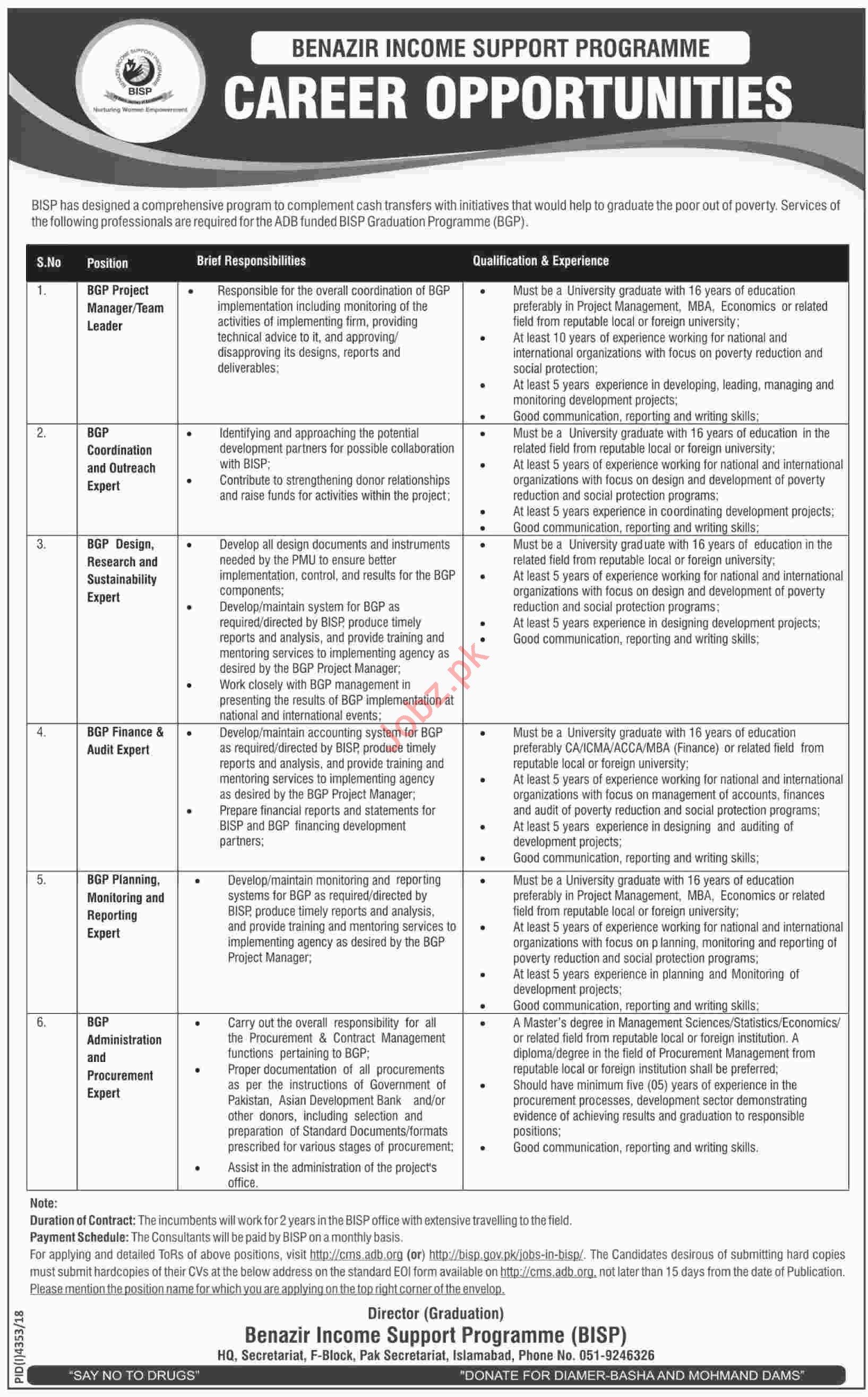 BISP Benazir Income Support Programme Jobs 2019