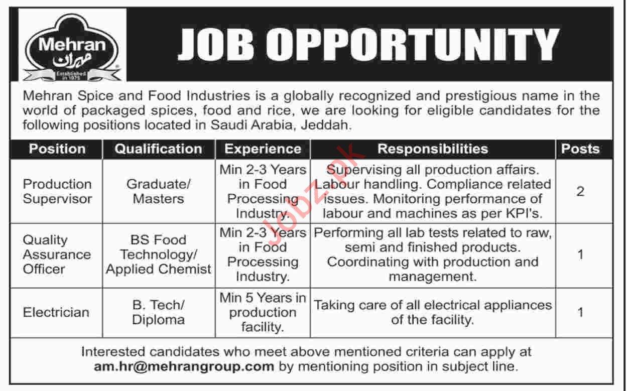 Mehran Spice & Food Industries Jobs in Jeddah Saudi Arabia