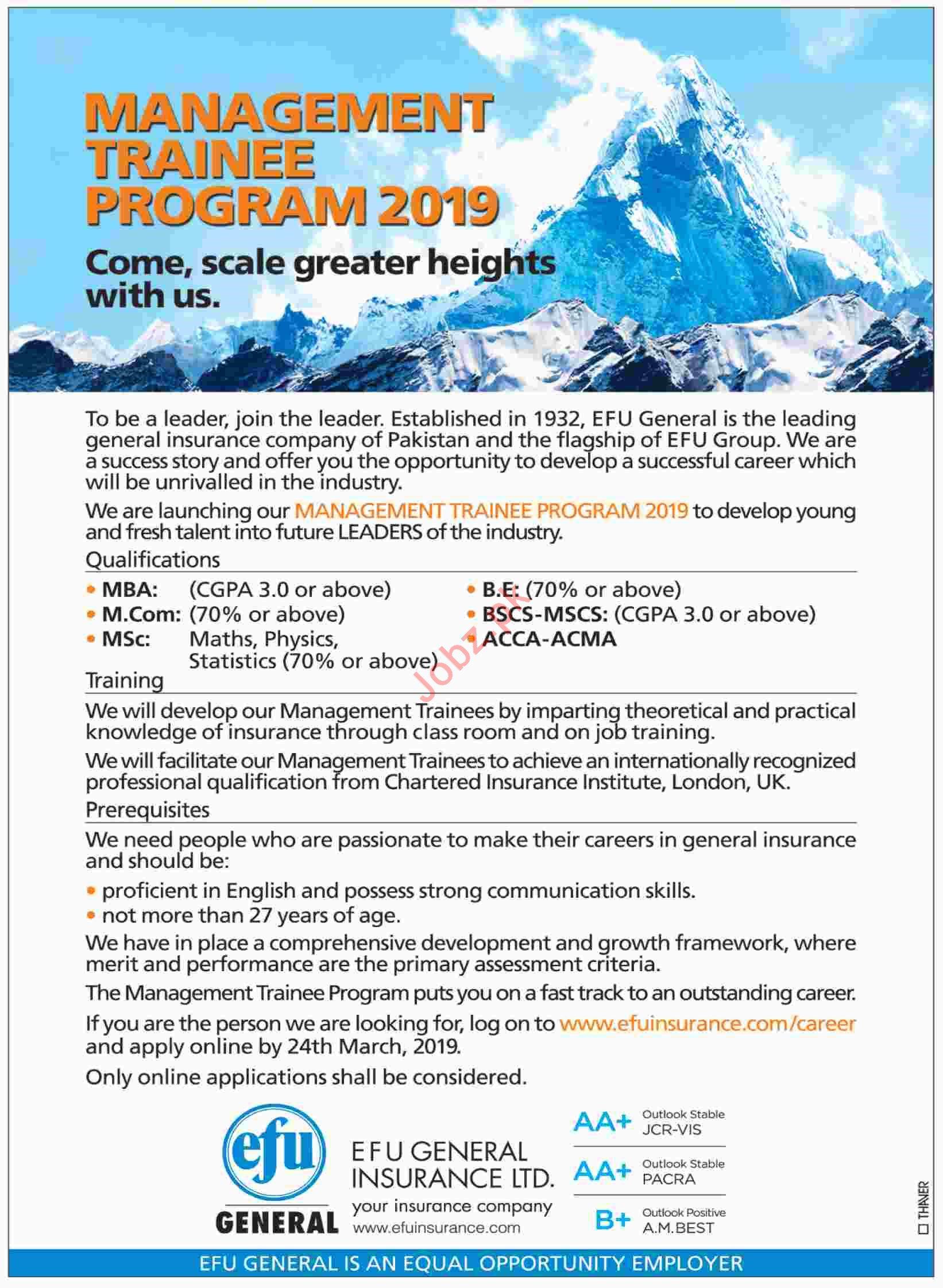 Efu General Insurance Ltd Management Trainee Program 2019
