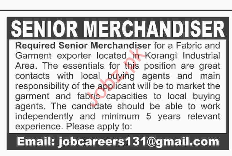 Senior Merchandiser Job 2019 in Karachi