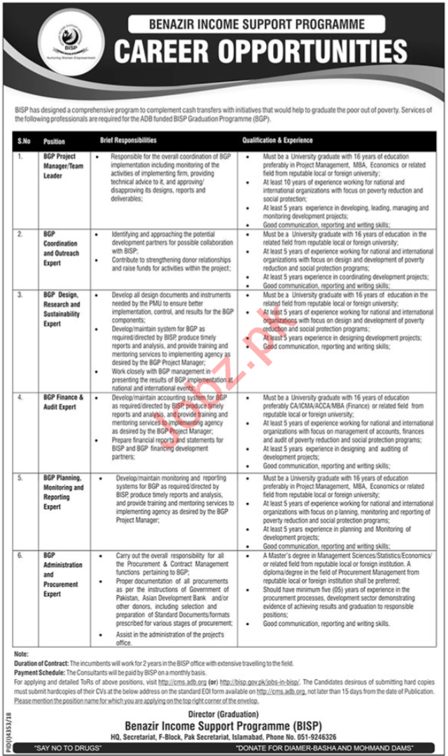 Benazir Income Support Programme BISP Jobs 2019