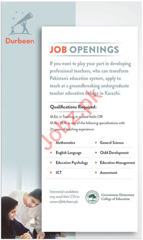 Government Elementary College of Education Teaching Jobs