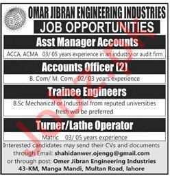 Omar Jibran Engineering Industries Ltd Jobs 2019 in Lahore