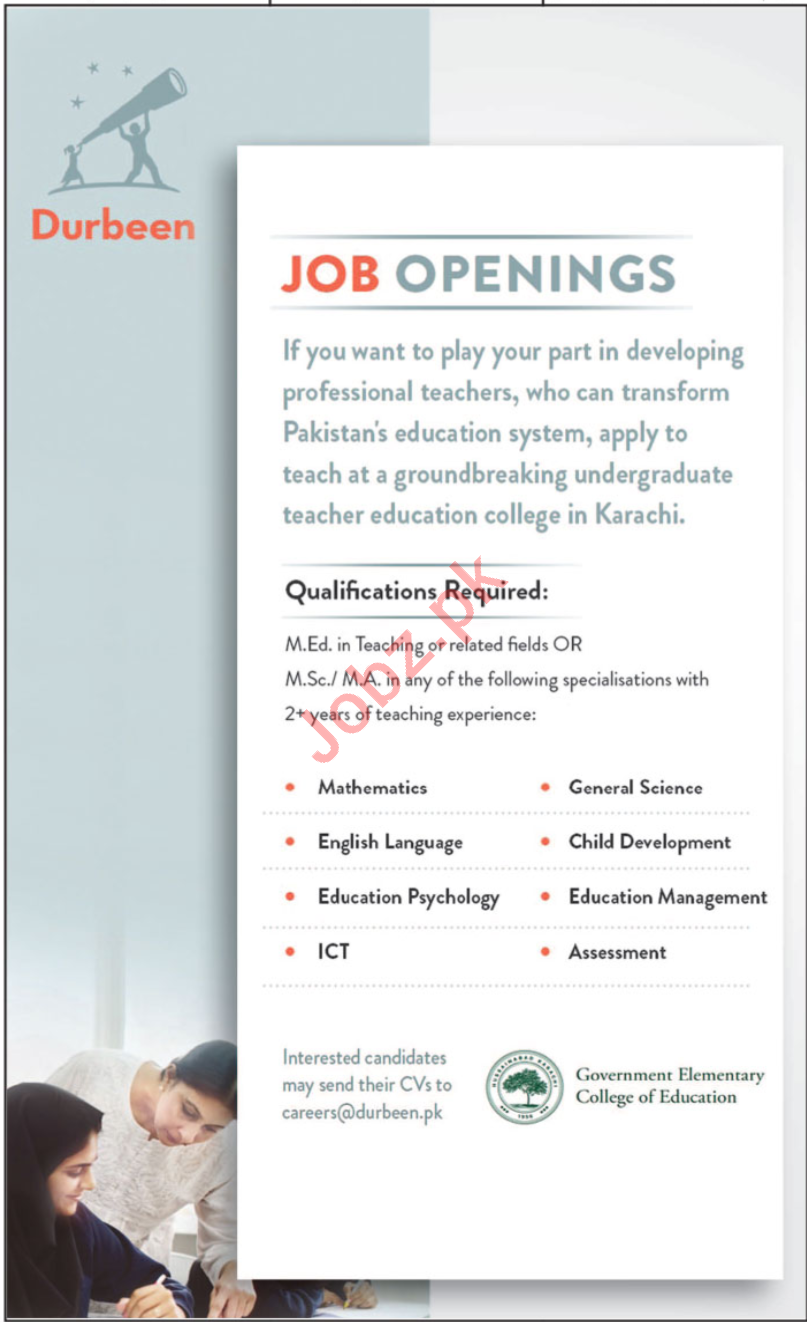 Teaching Jobs in Government Elementary College of Education