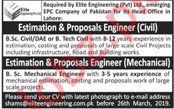 Civil Engineer & Mechanical Engineer Jobs 2019 in Lahore