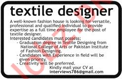 Textile Designer Job 2019 For Lahore 2020 Job Advertisement Pakistan