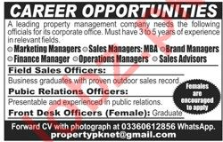 Property Managment Company Jobs 2019 in Lahore