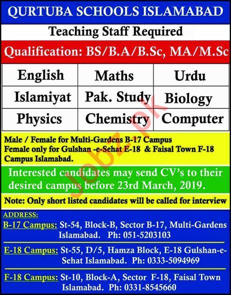 Qurtuba School Teaching Staff Jobs 2019