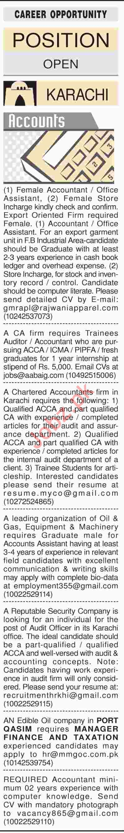 Dawn Sunday Classified Ads 17th March 2019 Accounts Staff
