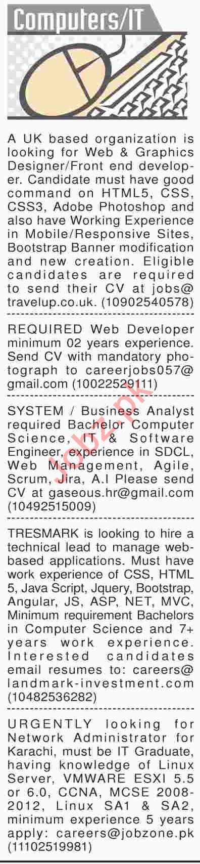 Dawn Sunday Classified Ads 17th March 2019 for IT Staff