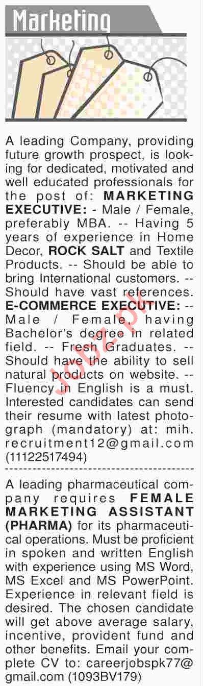 Dawn Sunday Classified Ads 17th March 2019 Marketing Staff