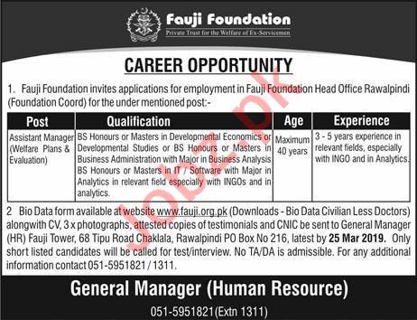 Fauji Foundation Assistnat Manager Jobs in