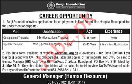 Occupational Therapist Jobs in Fauji Foundation Hospital