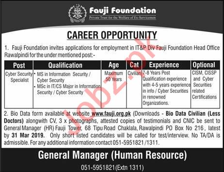 Fauji Foundation Cyber Security Specialist  Jobs in