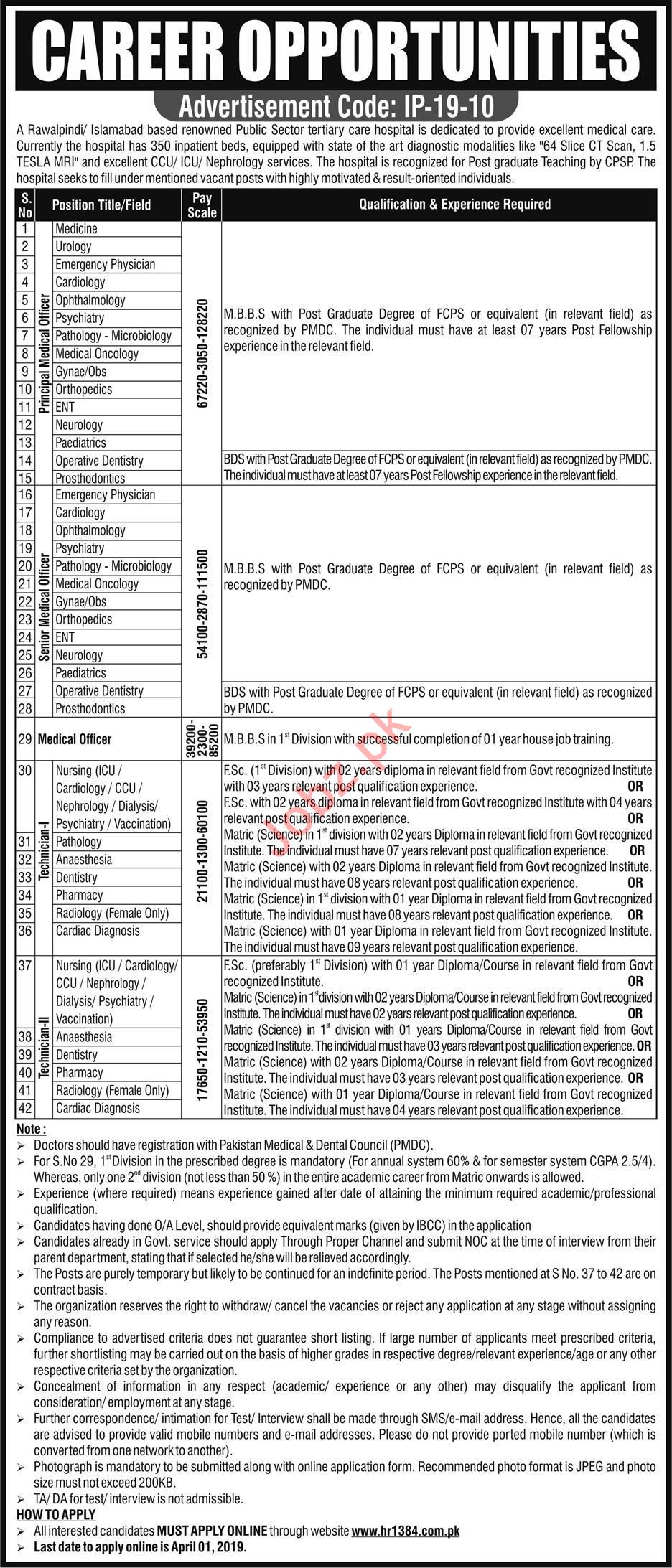 Public Sector Tertiary Care Hospital Medical Staff Jobs 2019