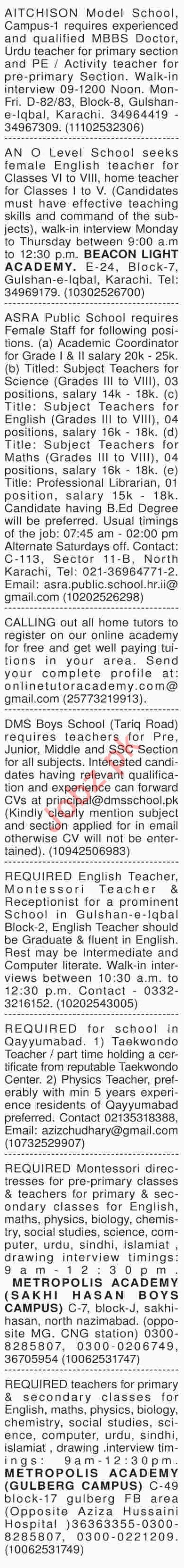 Dawn Sunday Classified Ads 17th March 2019 for Teachers