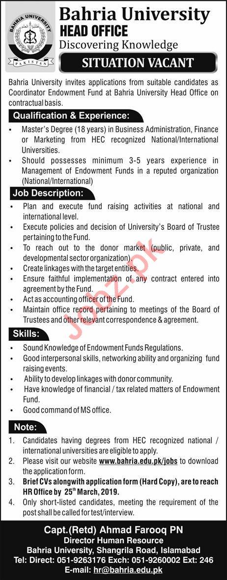 Bahria University Coordinator Jobs 2019
