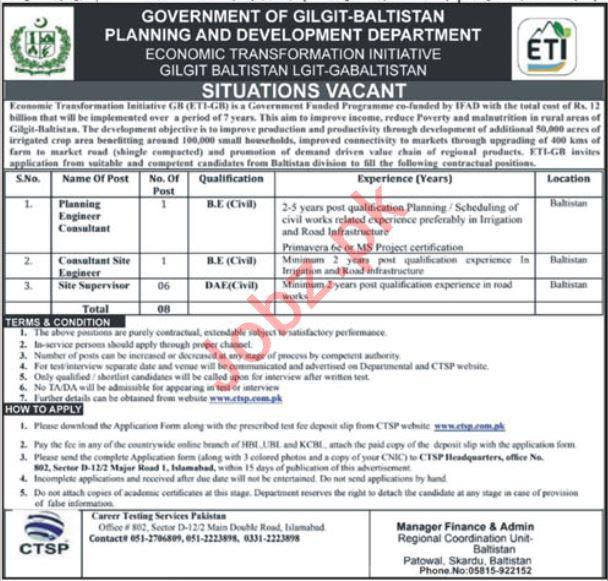 ETIGB Economic Transformation Initiative Gilgit Jobs 2019