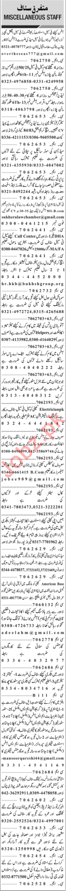 Jang Sunday Classified Ads 17th March 2019 for Office Staff
