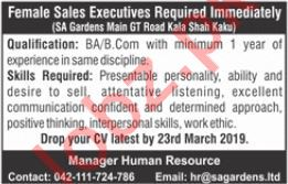 Sales Executives Jobs 2019 in Lahore