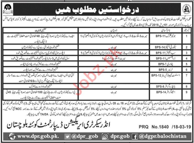 irrigation department jobs 2019 in quetta balochistan 2019