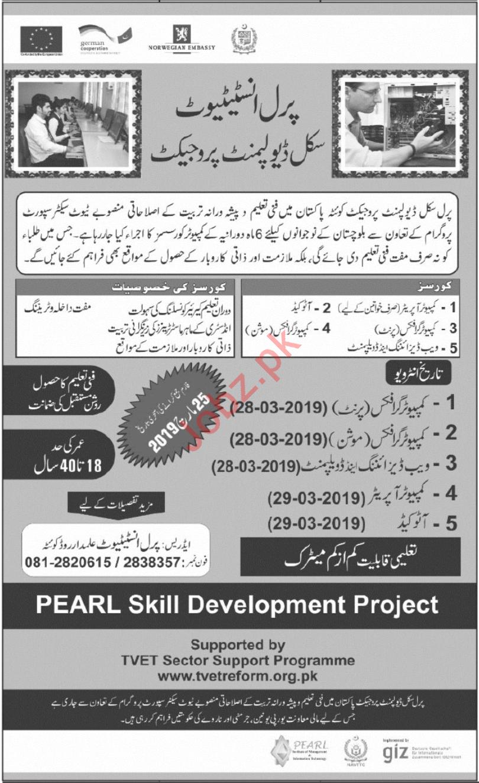 Pearl Institute Skill Development Project Jobs 2019