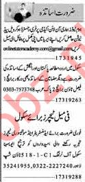 Dunya Sunday Classified Ads 17th March 2019 for Teachers