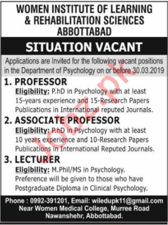 Women Institute of Learning & Rehabilitation Sciences Jobs