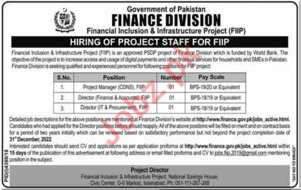Finance Division Jobs 2019 in Islamabad