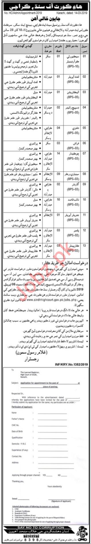 Sindh High Court Jobs in Karachi, Sukkur, Larkana, Hyderabad