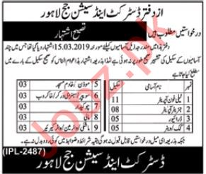 District & Session Court Jobs 2019 For Lahore