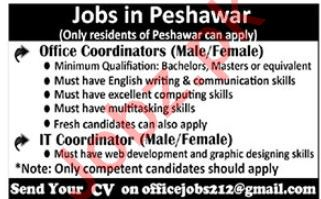 Office Coordinator & IT Coordinator Jobs 2019 in Peshawar