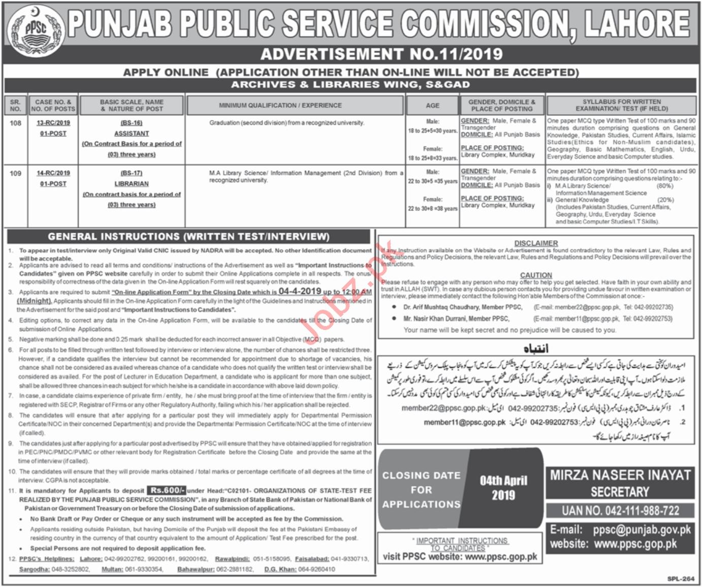 Punjab Public Service Commission PPSC Jobs April 2019