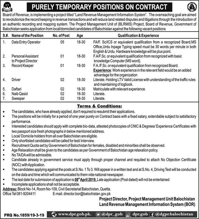Project Management Unit Data Entry Operator Jobs 2019