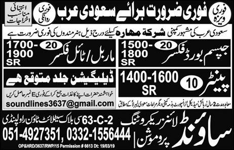 Marble Fixer & Painter Jobs in Saudi Arabia
