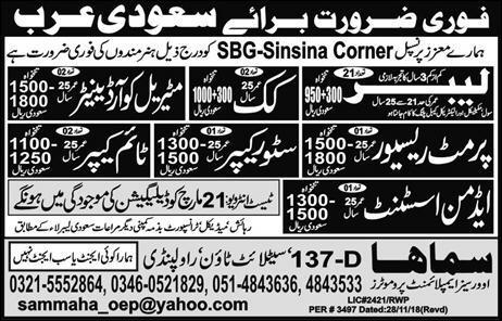 Labor, Cook & Admin Assistant Jobs in Saudi Arabia 2019 Job