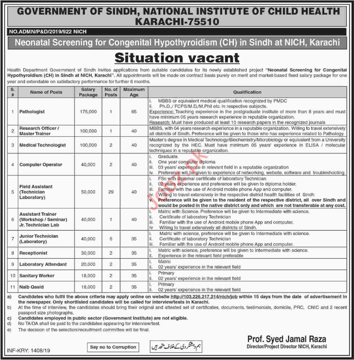 National Institute of Child Health Management Jobs 2019