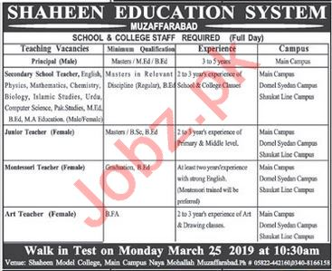 Shaheen Education System Teacher Jobs in Muzaffarabad
