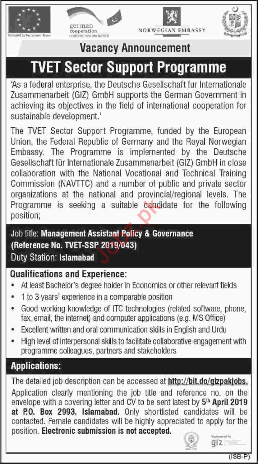 GIZ Pakistan NGO Jobs 2019 for Management Assistants
