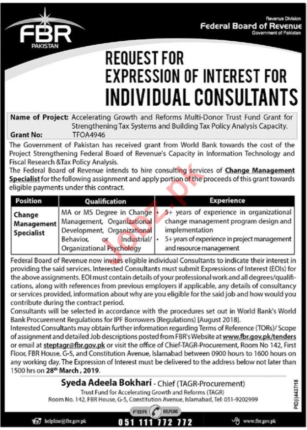 Federal Board of Revenue FBR Islamabad Jobs 2019